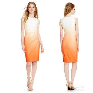 Calvin Klein Ombre Orange Pleated Scuba Dress 10